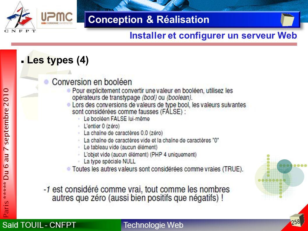 Technologie WebSaïd TOUIL - CNFPT 258 Paris ***** Du 6 au 7 septembre 2010 Installer et configurer un serveur Web Conception & Réalisation Les types (4)