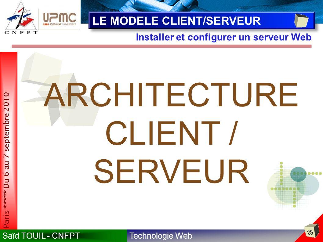 Technologie WebSaïd TOUIL - CNFPT 28 Paris ***** Du 6 au 7 septembre 2010 Installer et configurer un serveur Web LE MODELE CLIENT/SERVEUR ARCHITECTURE CLIENT / SERVEUR
