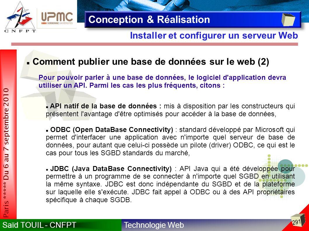 Technologie WebSaïd TOUIL - CNFPT 291 Paris ***** Du 6 au 7 septembre 2010 Installer et configurer un serveur Web Conception & Réalisation Comment publier une base de données sur le web (2) Pour pouvoir parler à une base de données, le logiciel d application devra utiliser un API.