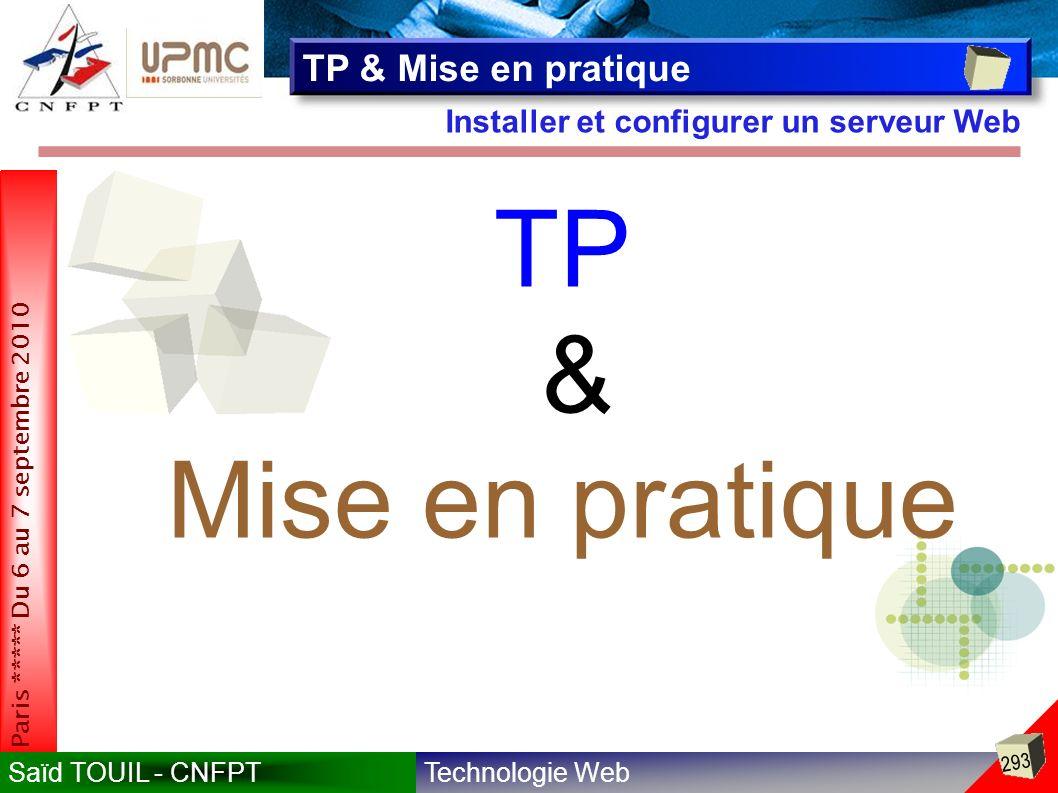 Technologie WebSaïd TOUIL - CNFPT 293 Paris ***** Du 6 au 7 septembre 2010 Installer et configurer un serveur Web TP & Mise en pratique TP & Mise en pratique