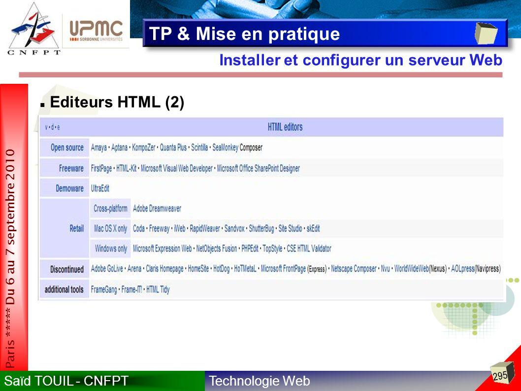 Technologie WebSaïd TOUIL - CNFPT 295 Paris ***** Du 6 au 7 septembre 2010 Installer et configurer un serveur Web TP & Mise en pratique Editeurs HTML (2)