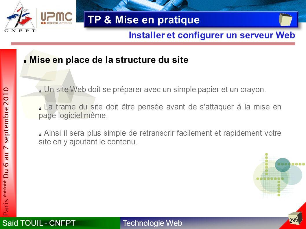 Technologie WebSaïd TOUIL - CNFPT 296 Paris ***** Du 6 au 7 septembre 2010 Installer et configurer un serveur Web TP & Mise en pratique Mise en place de la structure du site Un site Web doit se préparer avec un simple papier et un crayon.