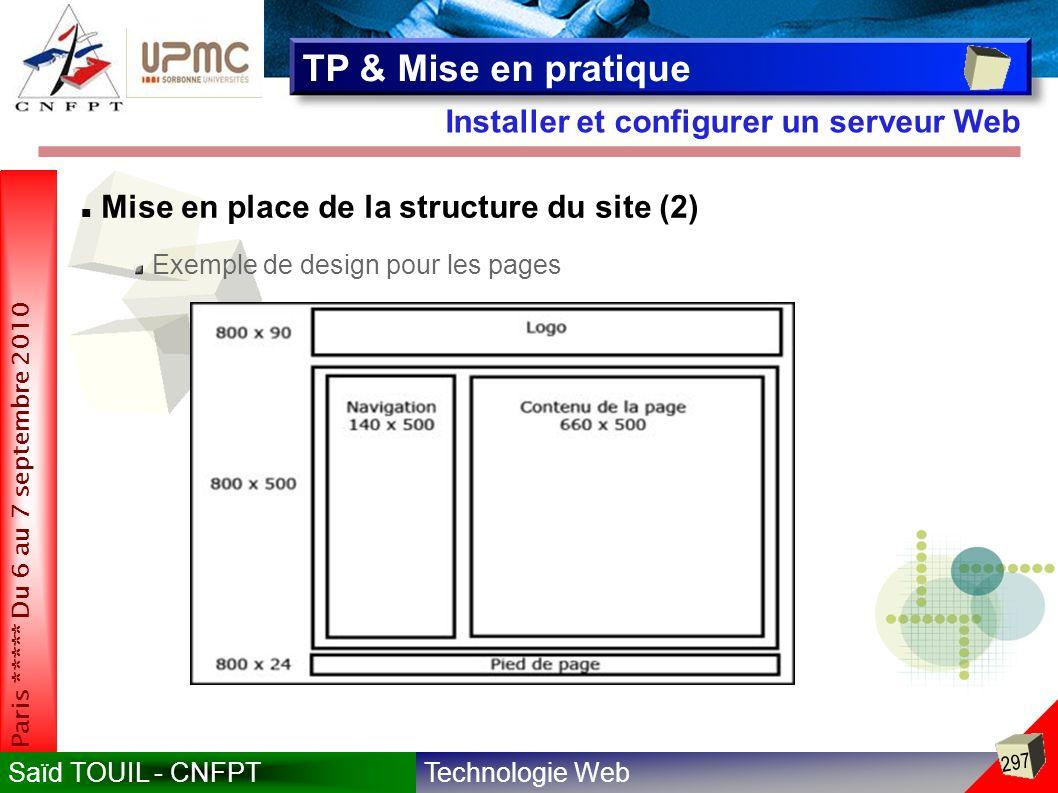 Technologie WebSaïd TOUIL - CNFPT 297 Paris ***** Du 6 au 7 septembre 2010 Installer et configurer un serveur Web TP & Mise en pratique Mise en place de la structure du site (2) Exemple de design pour les pages