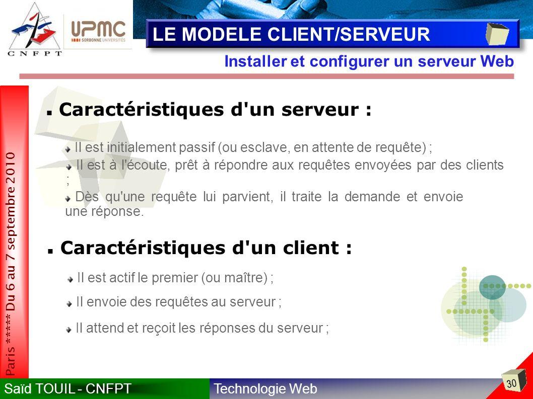 Technologie WebSaïd TOUIL - CNFPT 30 Paris ***** Du 6 au 7 septembre 2010 Installer et configurer un serveur Web LE MODELE CLIENT/SERVEUR Il est initialement passif (ou esclave, en attente de requête) ; Il est à l écoute, prêt à répondre aux requêtes envoyées par des clients ; Caractéristiques d un serveur : Dès qu une requête lui parvient, il traite la demande et envoie une réponse.