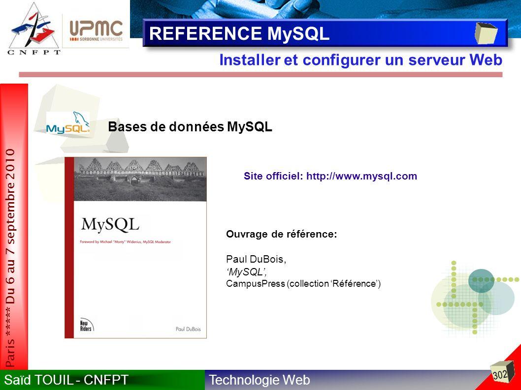 Technologie WebSaïd TOUIL - CNFPT 302 Paris ***** Du 6 au 7 septembre 2010 Installer et configurer un serveur Web REFERENCE MySQL Site officiel: http://www.mysql.com Bases de données MySQL Ouvrage de référence: Paul DuBois, MySQL, CampusPress (collection Référence)