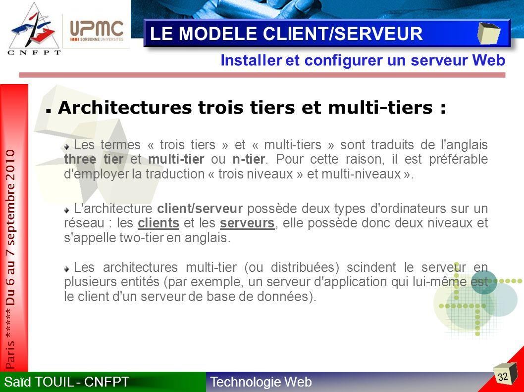 Technologie WebSaïd TOUIL - CNFPT 32 Paris ***** Du 6 au 7 septembre 2010 Installer et configurer un serveur Web LE MODELE CLIENT/SERVEUR Les termes « trois tiers » et « multi-tiers » sont traduits de l anglais three tier et multi-tier ou n-tier.