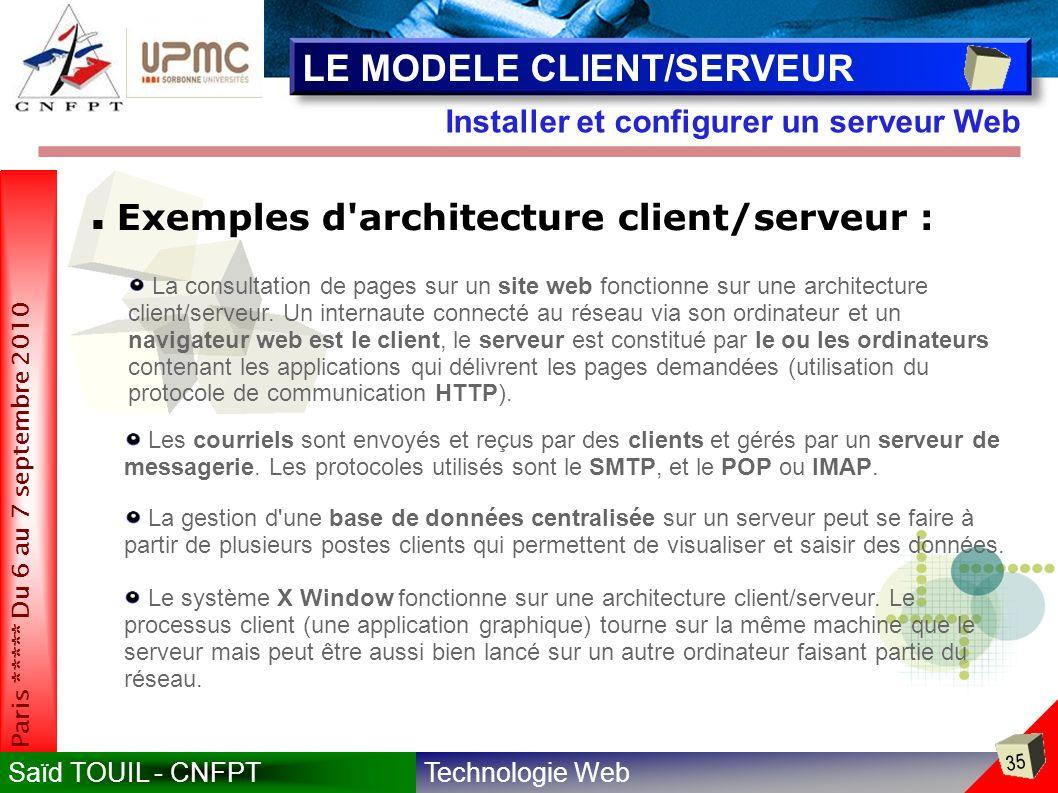 Technologie WebSaïd TOUIL - CNFPT 35 Paris ***** Du 6 au 7 septembre 2010 Installer et configurer un serveur Web LE MODELE CLIENT/SERVEUR Exemples d architecture client/serveur : La consultation de pages sur un site web fonctionne sur une architecture client/serveur.