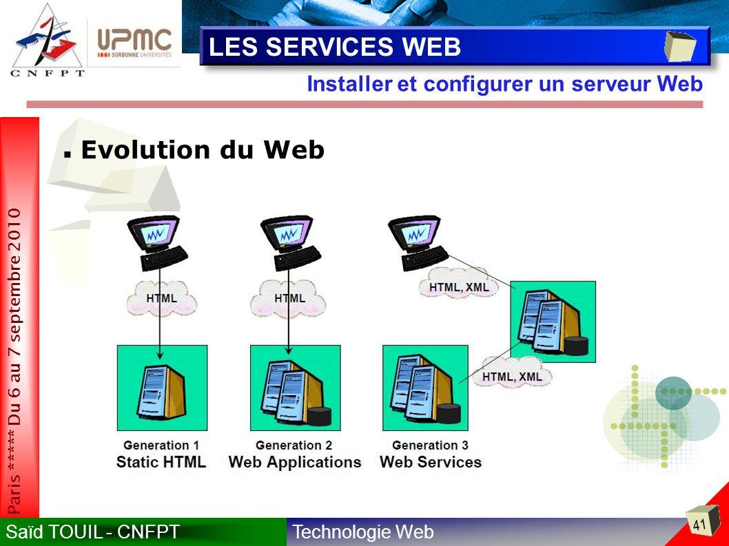 Technologie WebSaïd TOUIL - CNFPT 41 Paris ***** Du 6 au 7 septembre 2010 Installer et configurer un serveur Web LES SERVICES WEB Evolution du Web