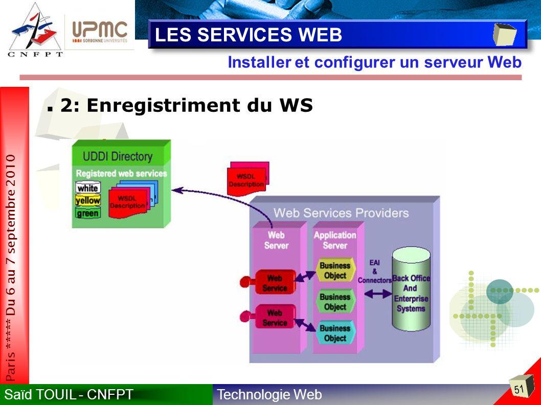 Technologie WebSaïd TOUIL - CNFPT 51 Paris ***** Du 6 au 7 septembre 2010 Installer et configurer un serveur Web LES SERVICES WEB 2: Enregistriment du WS