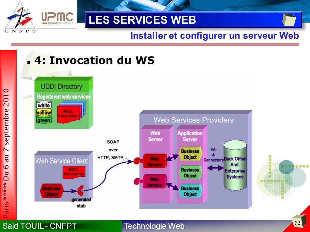Technologie WebSaïd TOUIL - CNFPT 53 Paris ***** Du 6 au 7 septembre 2010 Installer et configurer un serveur Web LES SERVICES WEB 4: Invocation du WS