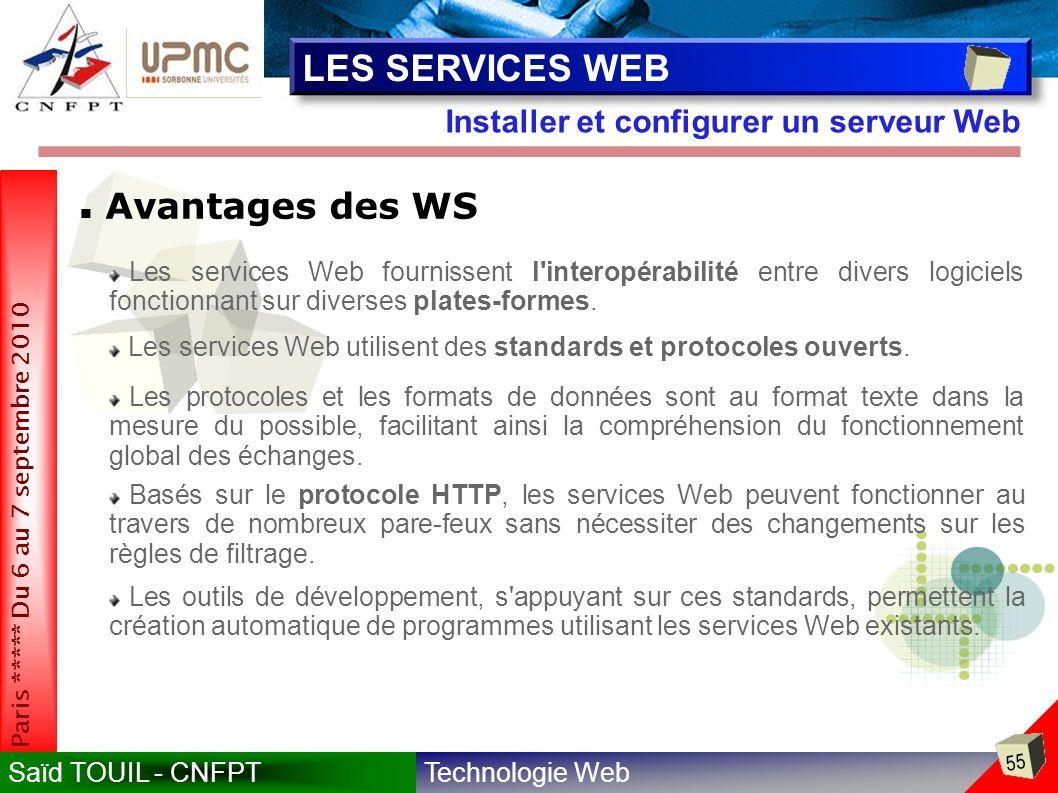Technologie WebSaïd TOUIL - CNFPT 55 Paris ***** Du 6 au 7 septembre 2010 Installer et configurer un serveur Web LES SERVICES WEB Avantages des WS Les services Web fournissent l interopérabilité entre divers logiciels fonctionnant sur diverses plates-formes.