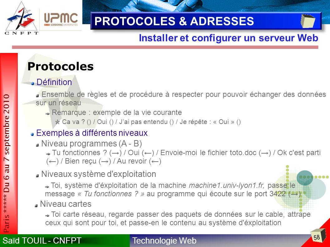 Technologie WebSaïd TOUIL - CNFPT 58 Paris ***** Du 6 au 7 septembre 2010 Installer et configurer un serveur Web PROTOCOLES & ADRESSES Protocoles Ensemble de règles et de procédure à respecter pour pouvoir échanger des données sur un réseau Remarque : exemple de la vie courante Ca va .
