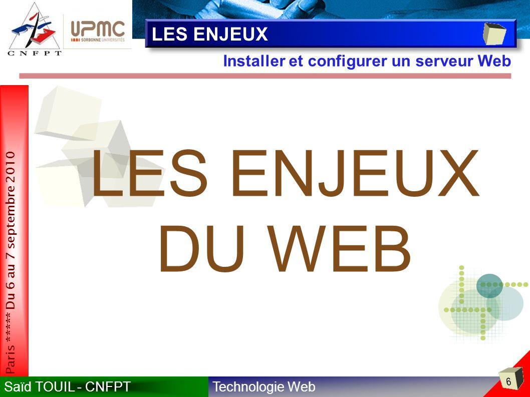 Technologie WebSaïd TOUIL - CNFPT 6 Paris ***** Du 6 au 7 septembre 2010 Installer et configurer un serveur Web LES ENJEUX LES ENJEUX DU WEB