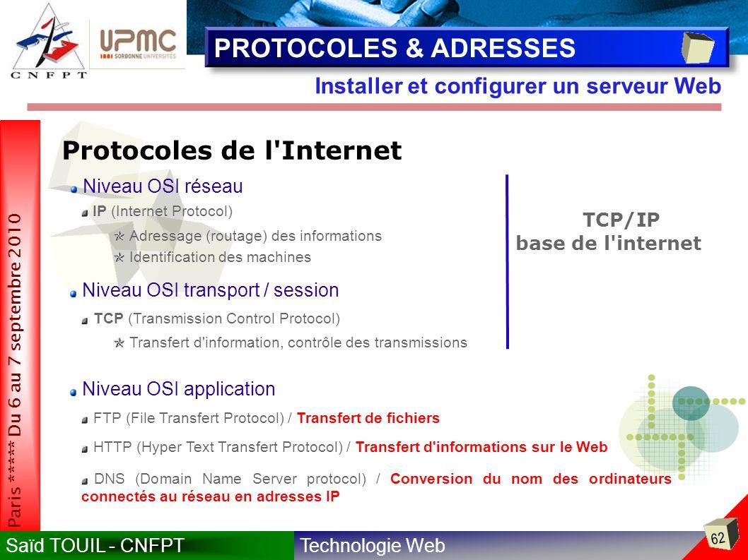 Technologie WebSaïd TOUIL - CNFPT 62 Paris ***** Du 6 au 7 septembre 2010 Installer et configurer un serveur Web PROTOCOLES & ADRESSES Protocoles de l Internet IP (Internet Protocol) Niveau OSI réseau Niveau OSI transport / session TCP (Transmission Control Protocol) Adressage (routage) des informations Identification des machines Transfert d information, contrôle des transmissions Niveau OSI application FTP (File Transfert Protocol) / Transfert de fichiers HTTP (Hyper Text Transfert Protocol) / Transfert d informations sur le Web TCP/IP base de l internet DNS (Domain Name Server protocol) / Conversion du nom des ordinateurs connectés au réseau en adresses IP