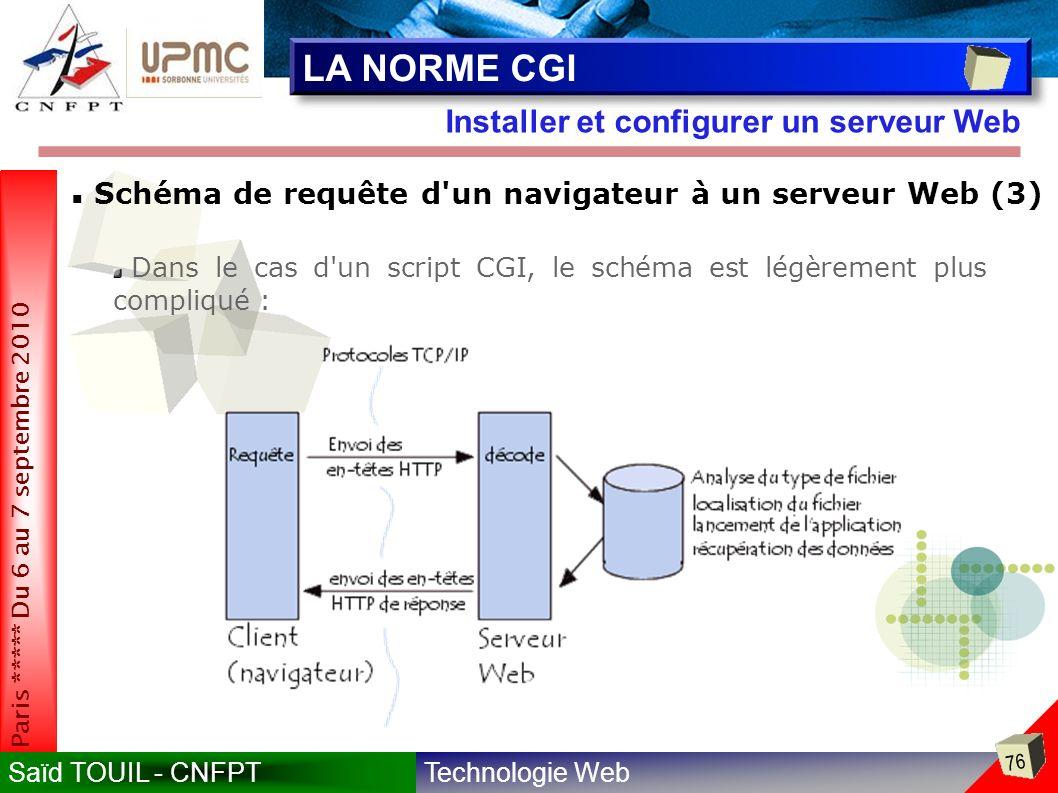 Technologie WebSaïd TOUIL - CNFPT 76 Paris ***** Du 6 au 7 septembre 2010 Installer et configurer un serveur Web LA NORME CGI Schéma de requête d un navigateur à un serveur Web (3) Dans le cas d un script CGI, le schéma est légèrement plus compliqué :