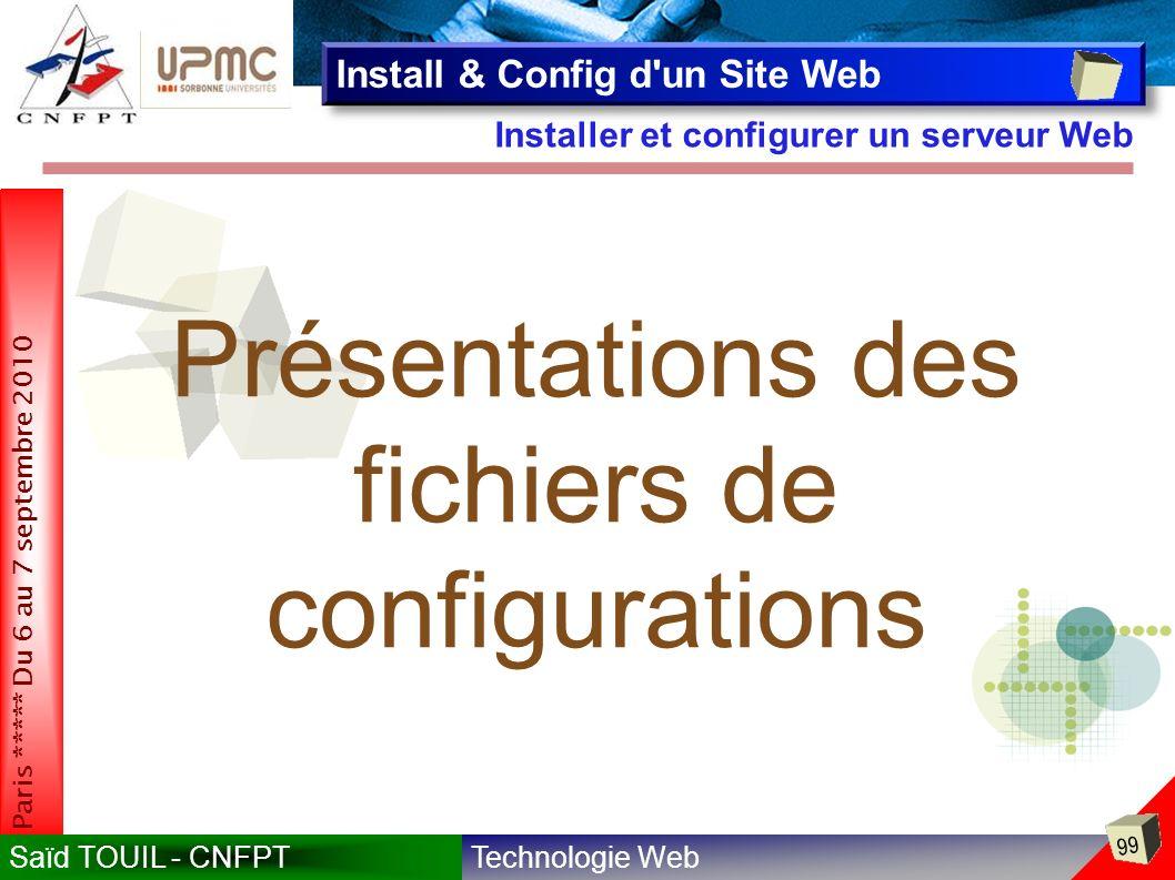 Technologie WebSaïd TOUIL - CNFPT 99 Paris ***** Du 6 au 7 septembre 2010 Installer et configurer un serveur Web Install & Config d un Site Web Présentations des fichiers de configurations