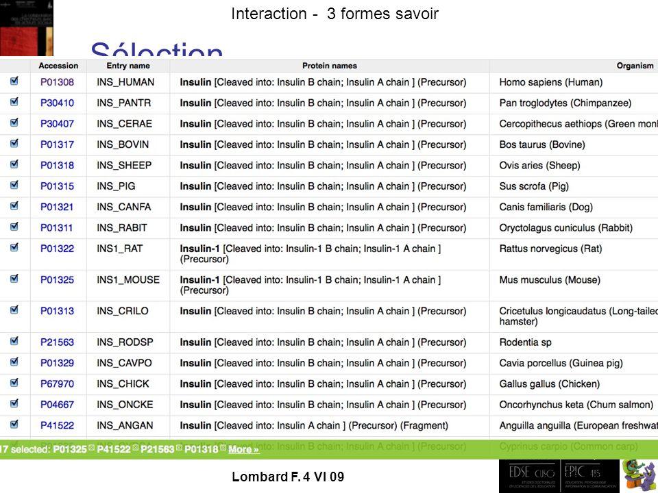- TECFA UniGe Interaction - 3 formes savoir Lombard F. 4 VI 09 Sélection