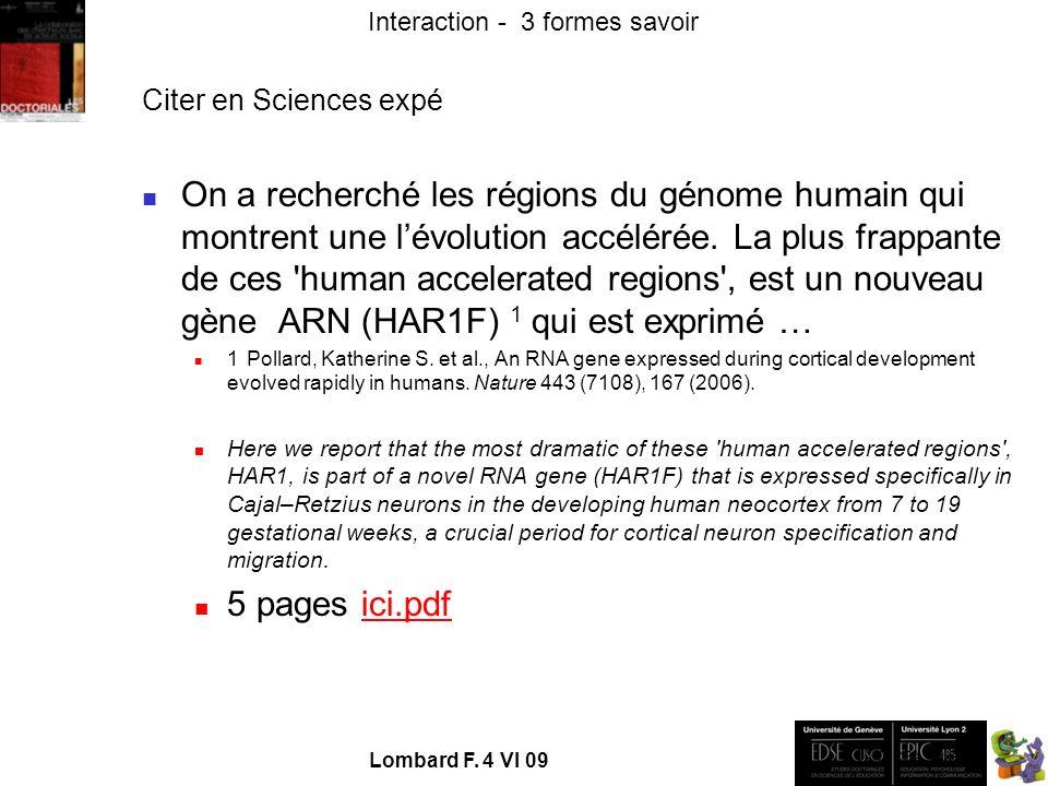 - TECFA UniGe Interaction - 3 formes savoir Lombard F.
