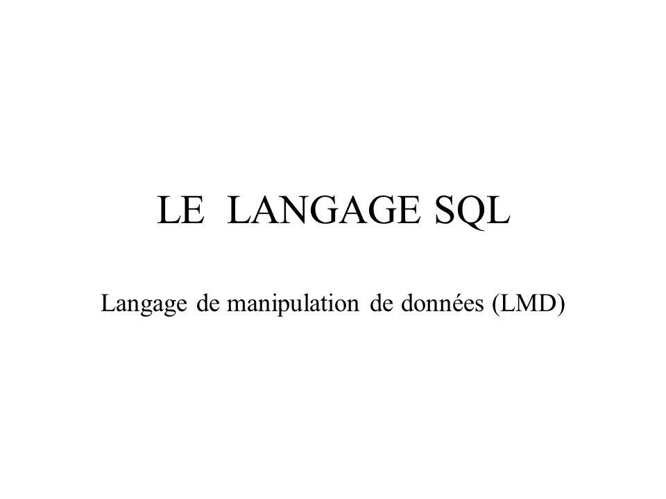 LE LANGAGE SQL Langage de manipulation de données (LMD)