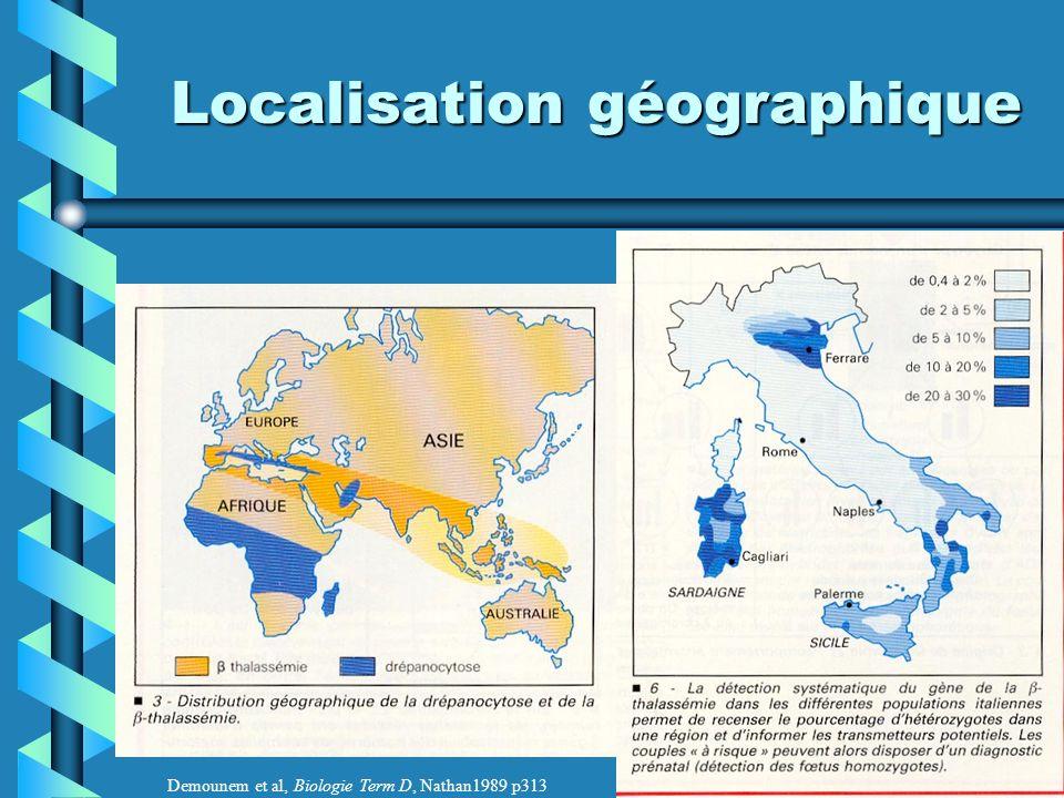 Localisation géographique Demounem et al, Biologie Term D, Nathan1989 p313