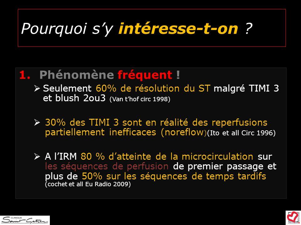 1. Phénomène fréquent ! Seulement 60% de résolution du ST malgré TIMI 3 et blush 2ou3 (Van thof circ 1998) 30% des TIMI 3 sont en réalité des reperfus