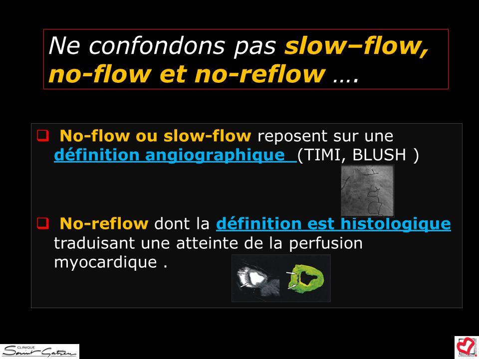 Ne confondons pas slow–flow, no-flow et no-reflow …. No-flow ou slow-flow reposent sur une définition angiographique (TIMI, BLUSH ) No-reflow dont la