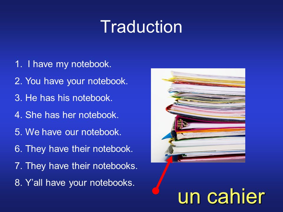 Traduction 1. I have my notebook. 2.You have your notebook.