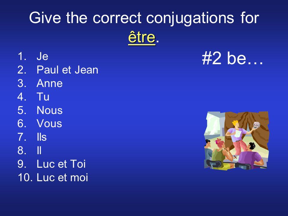 être Give the correct conjugations for être.