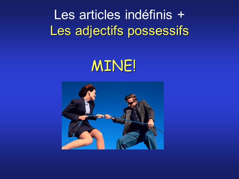 Les adjectifs possessifs Les articles indéfinis + Les adjectifs possessifs MINE!