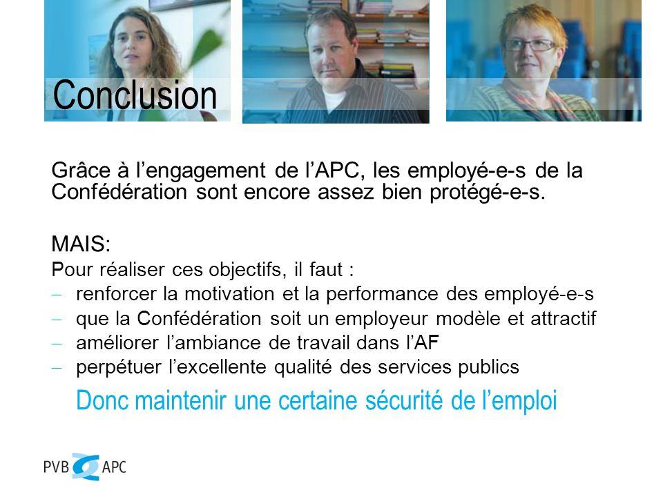 Conclusion Grâce à lengagement de lAPC, les employé-e-s de la Confédération sont encore assez bien protégé-e-s.