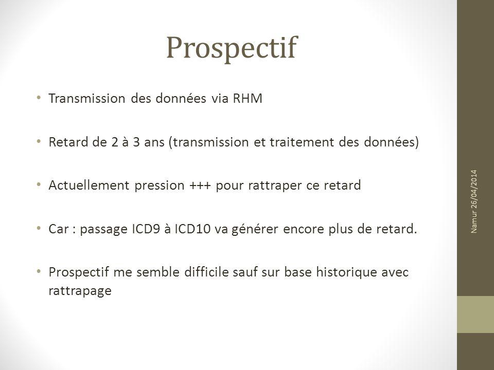 Prospectif Transmission des données via RHM Retard de 2 à 3 ans (transmission et traitement des données) Actuellement pression +++ pour rattraper ce r