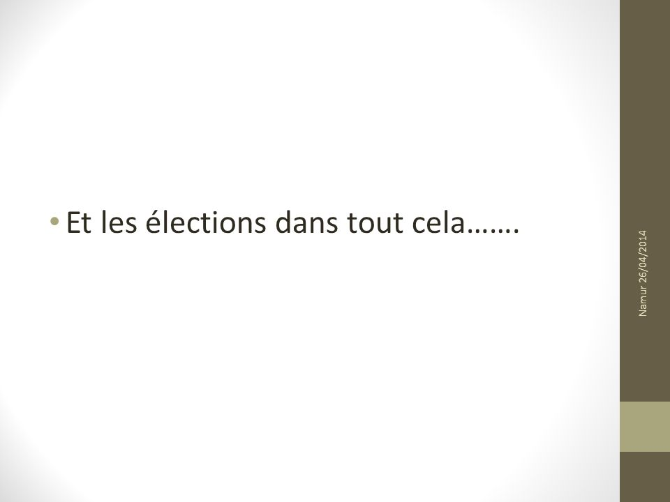 Et les élections dans tout cela……. Namur 26/04/2014