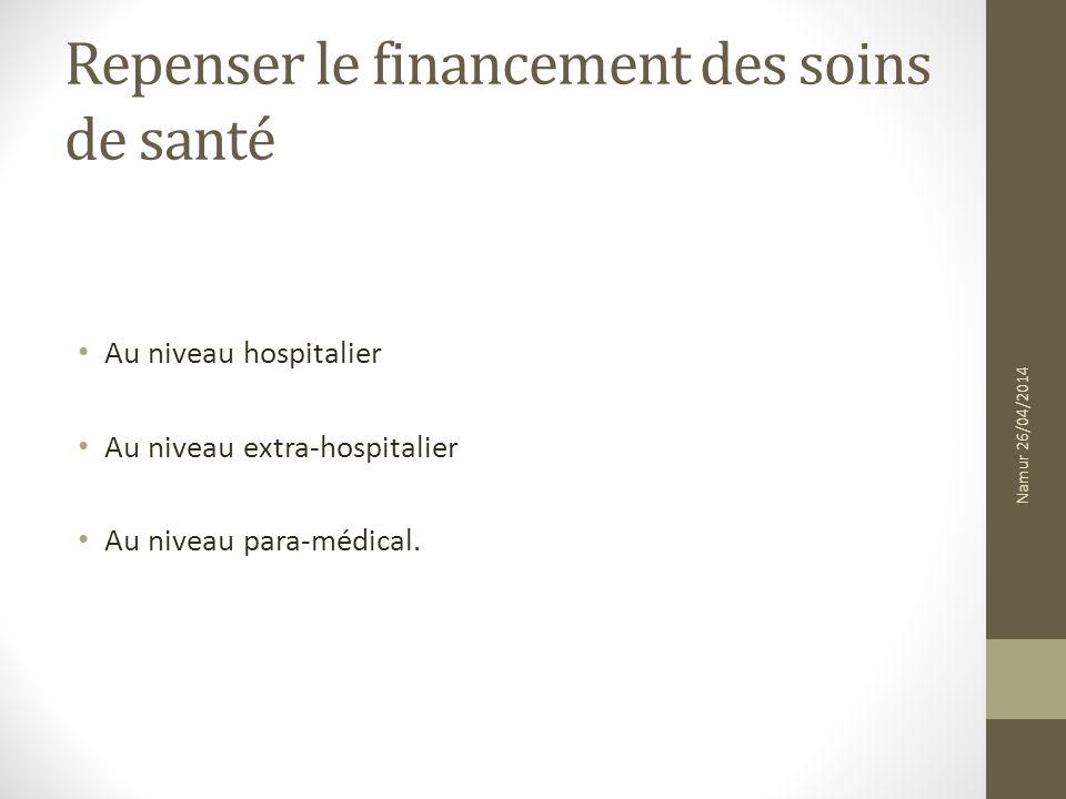 Repenser le financement des soins de santé Au niveau hospitalier Au niveau extra-hospitalier Au niveau para-médical. Namur 26/04/2014