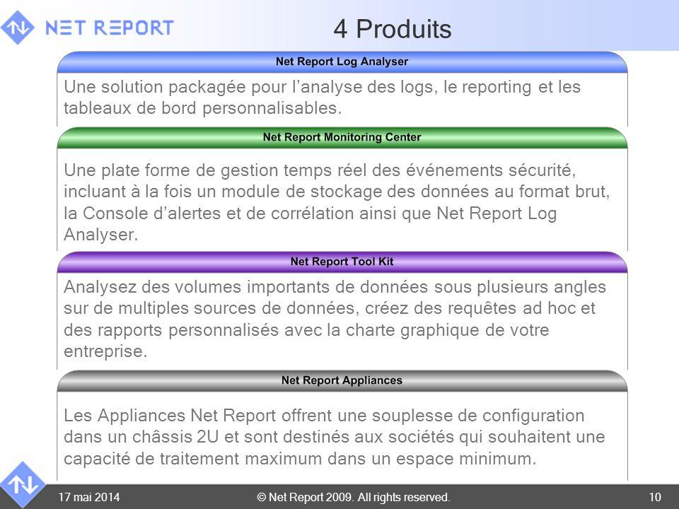 © Net Report 2009. All rights reserved. 17 mai 201410 4 Produits Une solution packagée pour lanalyse des logs, le reporting et les tableaux de bord pe