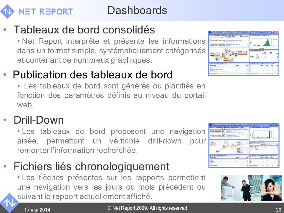 © Net Report 2009. All rights reserved. 17 mai 201420 Dashboards Tableaux de bord consolidés Net Report interprète et présente les informations dans u