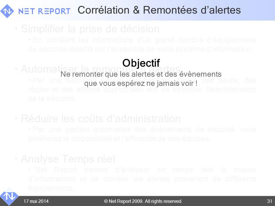 © Net Report 2009. All rights reserved. 17 mai 201431 Corrélation & Remontées dalertes Simplifier la prise de décision En corrélant les informations d