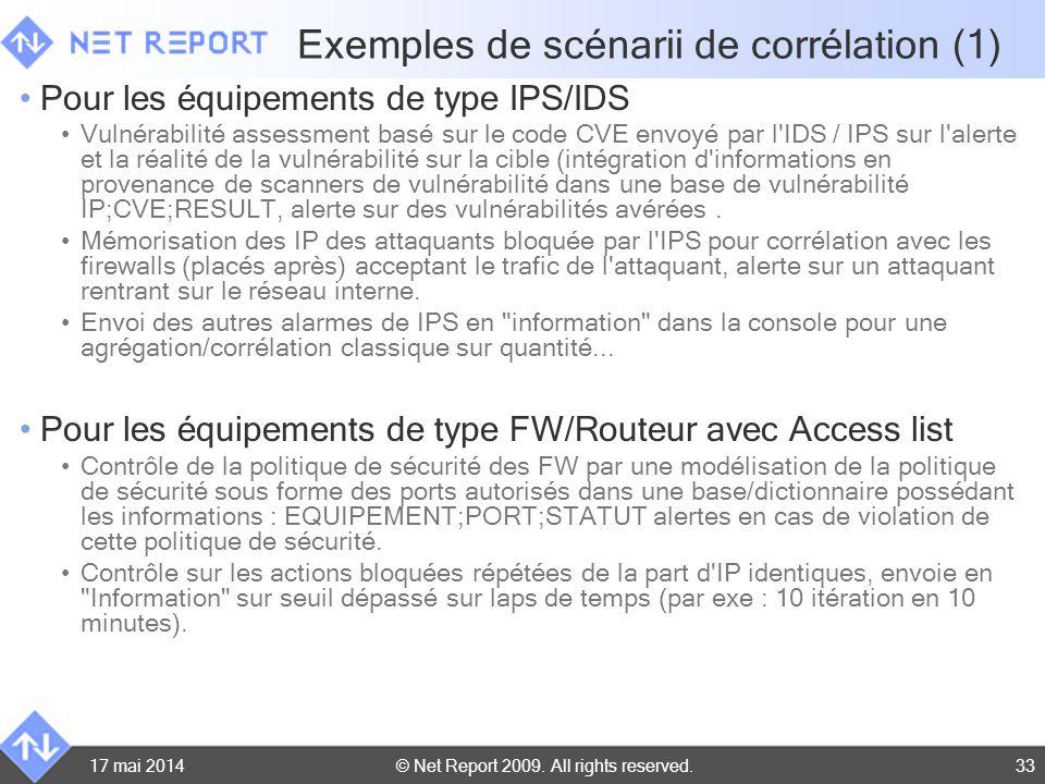 © Net Report 2009. All rights reserved. 17 mai 201433 Exemples de scénarii de corrélation (1) Pour les équipements de type IPS/IDS Vulnérabilité asses