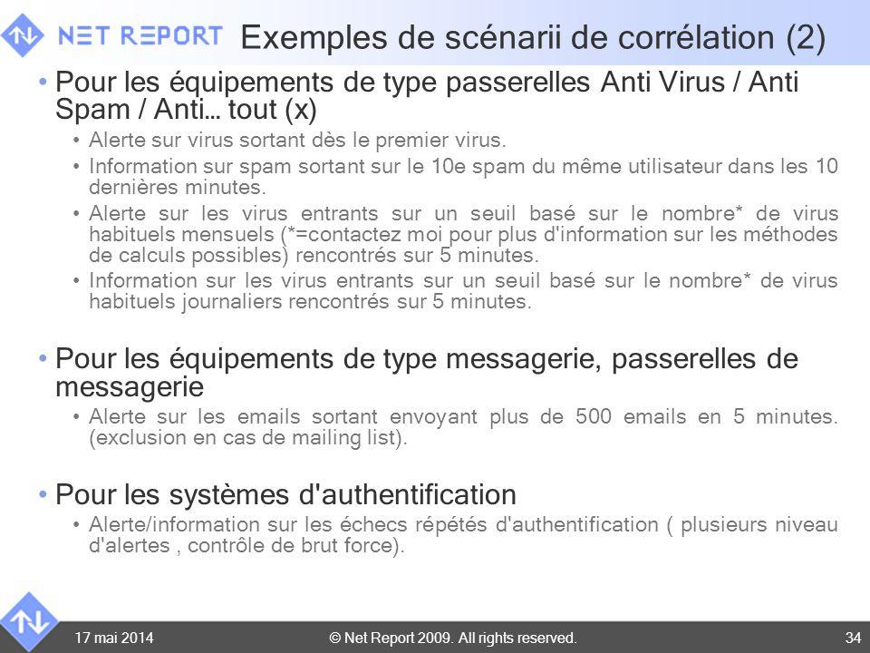 © Net Report 2009. All rights reserved. 17 mai 201434 Exemples de scénarii de corrélation (2) Pour les équipements de type passerelles Anti Virus / An