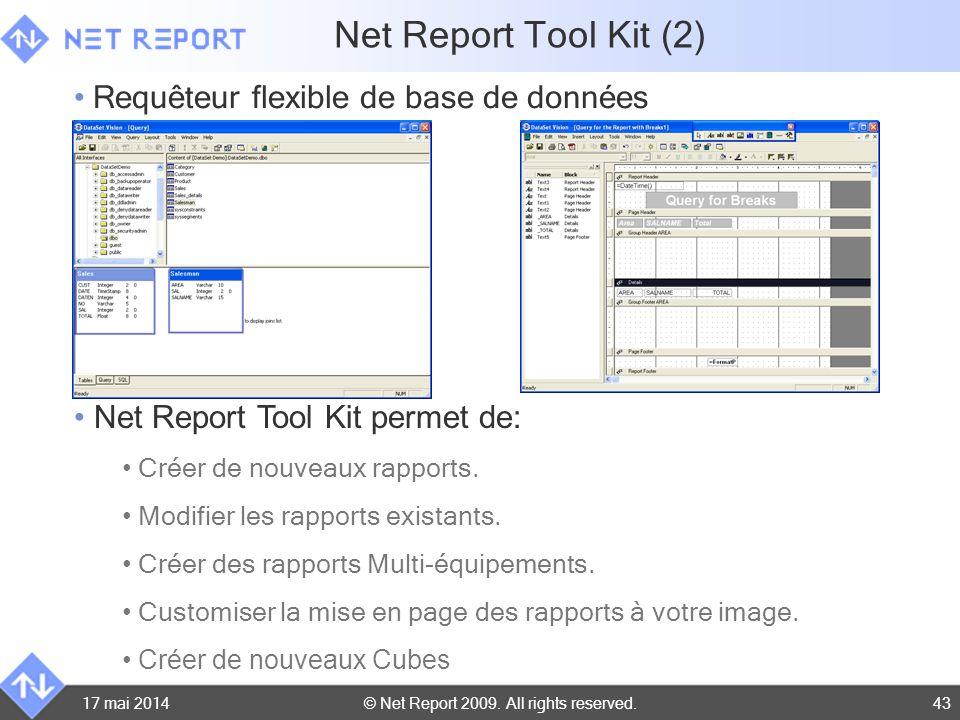 © Net Report 2009. All rights reserved.17 mai 201443 Net Report Tool Kit permet de: Créer de nouveaux rapports. Modifier les rapports existants. Créer