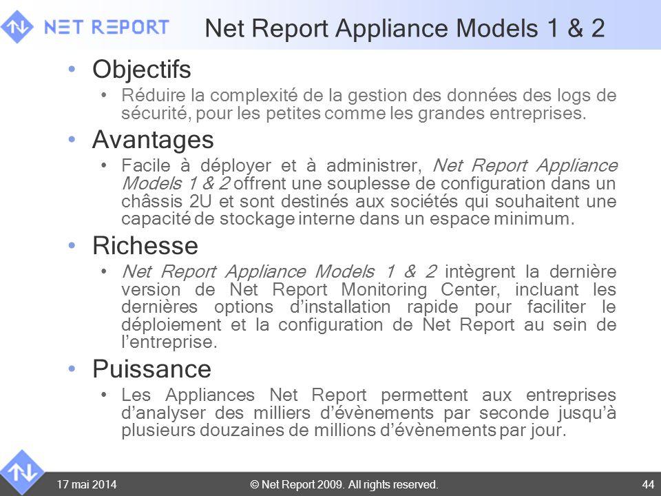 © Net Report 2009. All rights reserved. 17 mai 201444 Net Report Appliance Models 1 & 2 Objectifs Réduire la complexité de la gestion des données des