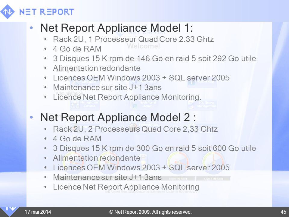 © Net Report 2009. All rights reserved. 17 mai 201445 Net Report Appliance Model 1: Rack 2U, 1 Processeur Quad Core 2.33 Ghtz 4 Go de RAM 3 Disques 15