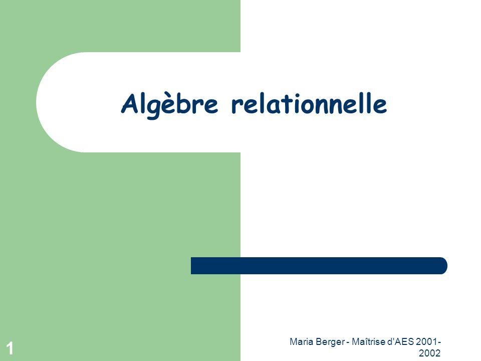 Maria Berger - Maîtrise d'AES 2001- 2002 1 Algèbre relationnelle