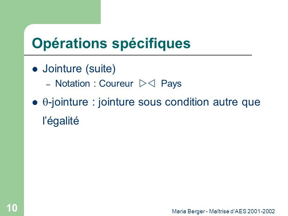 Maria Berger - Maîtrise d'AES 2001-2002 10 Opérations spécifiques Jointure (suite) – Notation : Coureur Pays -jointure : jointure sous condition autre