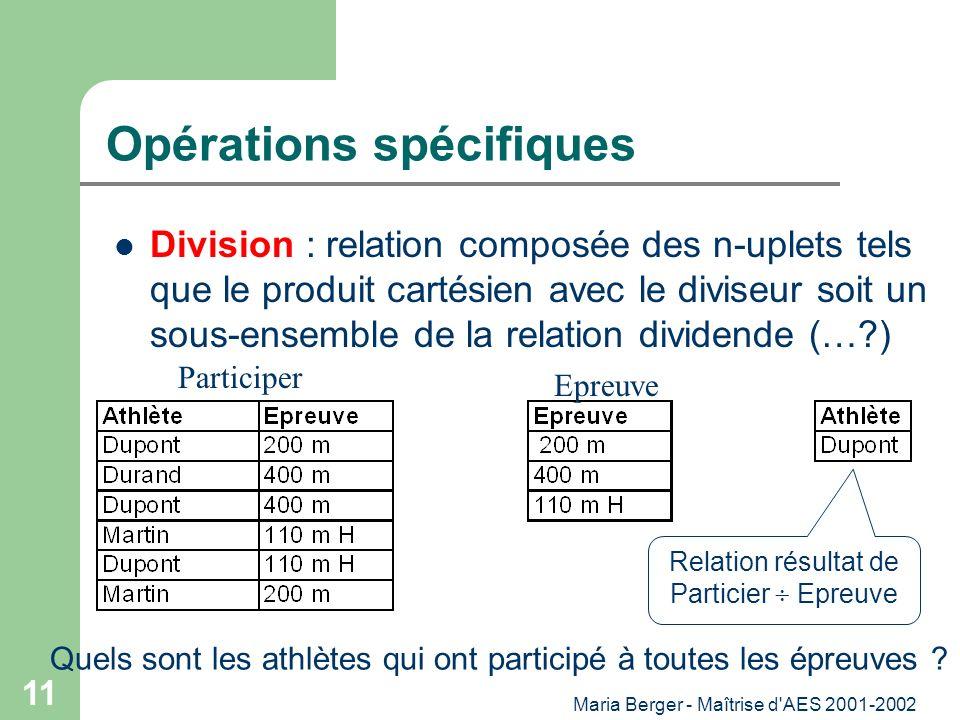 Maria Berger - Maîtrise d'AES 2001-2002 11 Opérations spécifiques Division : relation composée des n-uplets tels que le produit cartésien avec le divi