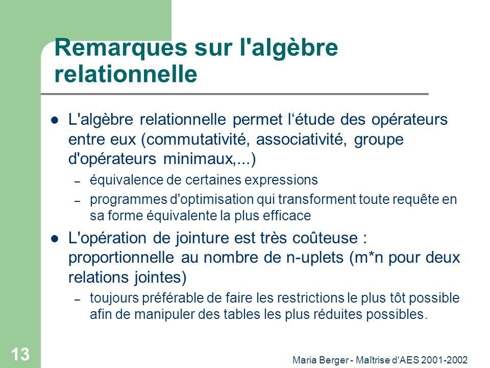 Maria Berger - Maîtrise d'AES 2001-2002 13 Remarques sur l'algèbre relationnelle L'algèbre relationnelle permet létude des opérateurs entre eux (commu
