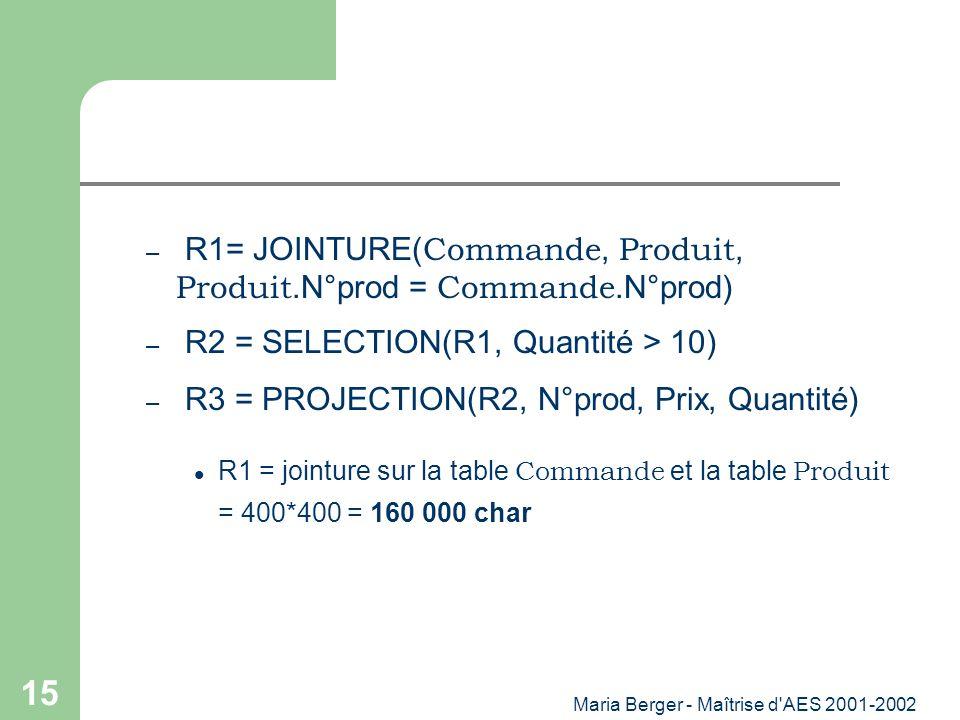 Maria Berger - Maîtrise d'AES 2001-2002 15 – R1= JOINTURE( Commande, Produit, Produit.N°prod = Commande.N°prod) – R2 = SELECTION(R1, Quantité > 10) –