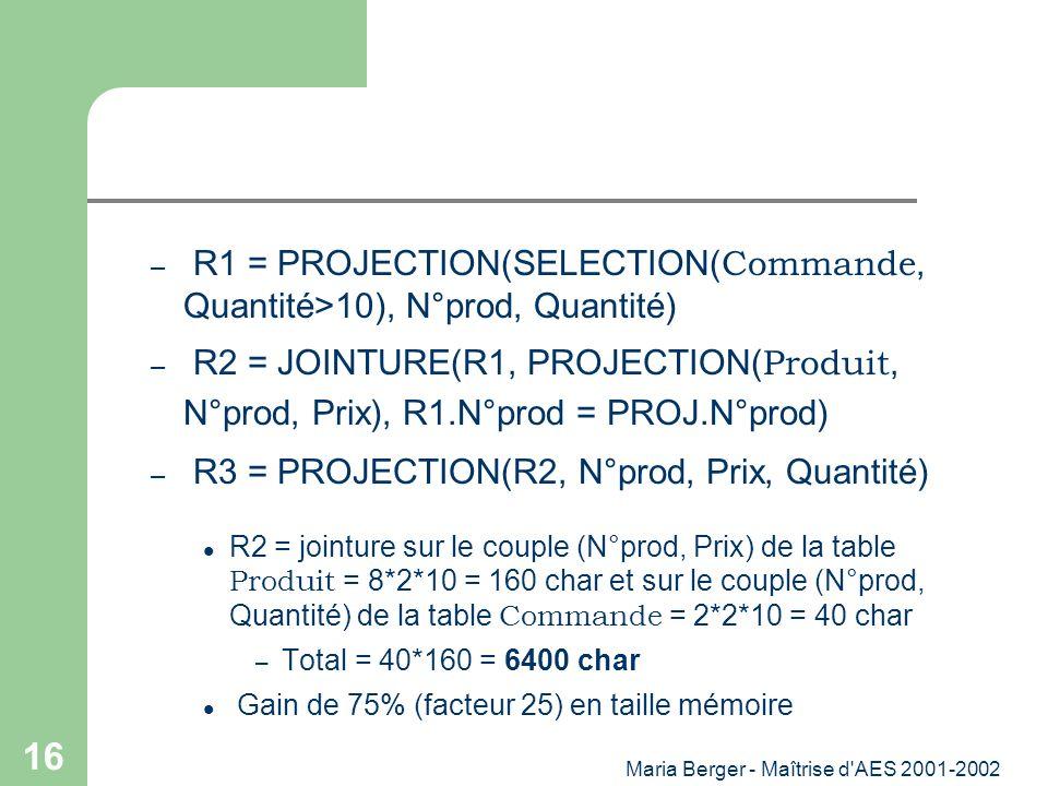 Maria Berger - Maîtrise d'AES 2001-2002 16 – R1 = PROJECTION(SELECTION( Commande, Quantité>10), N°prod, Quantité) – R2 = JOINTURE(R1, PROJECTION( Prod