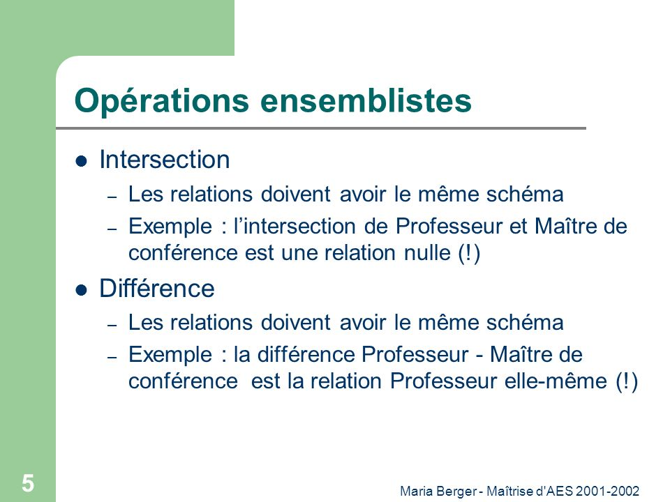 Maria Berger - Maîtrise d'AES 2001-2002 5 Opérations ensemblistes Intersection – Les relations doivent avoir le même schéma – Exemple : lintersection