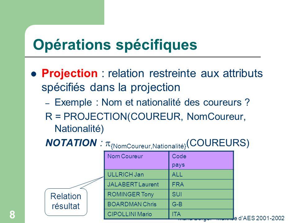 Maria Berger - Maîtrise d'AES 2001-2002 8 Opérations spécifiques Projection : relation restreinte aux attributs spécifiés dans la projection – Exemple