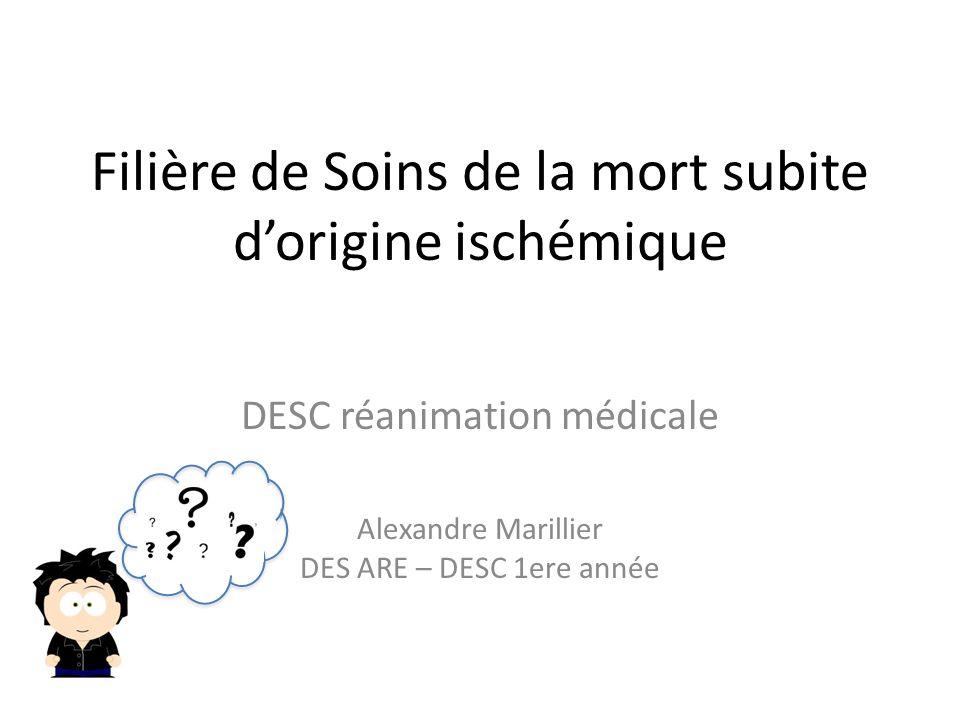 Filière de Soins de la mort subite dorigine ischémique DESC réanimation médicale Alexandre Marillier DES ARE – DESC 1ere année